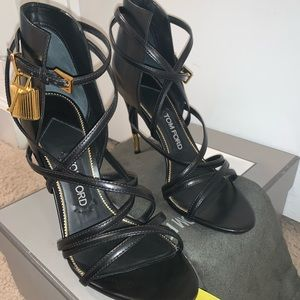 TOM FORD padlock leather strappy sandals EU37.5